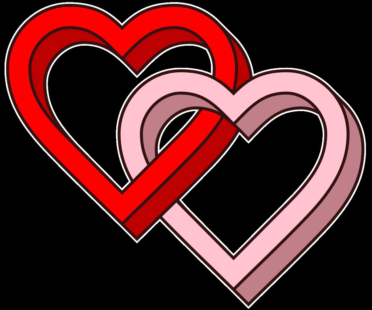 איור של שני לבבות - אפשר להידבק ב-HIV במגע מיני