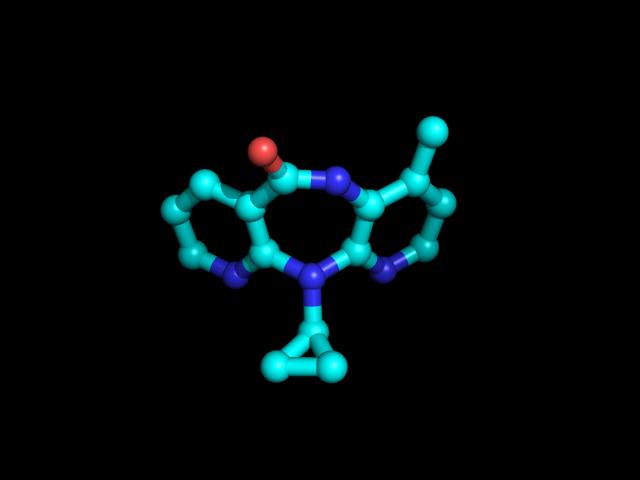 מבנה של התרופה Nevirapine מסוג NNRTI. איור: MLGProGamer123