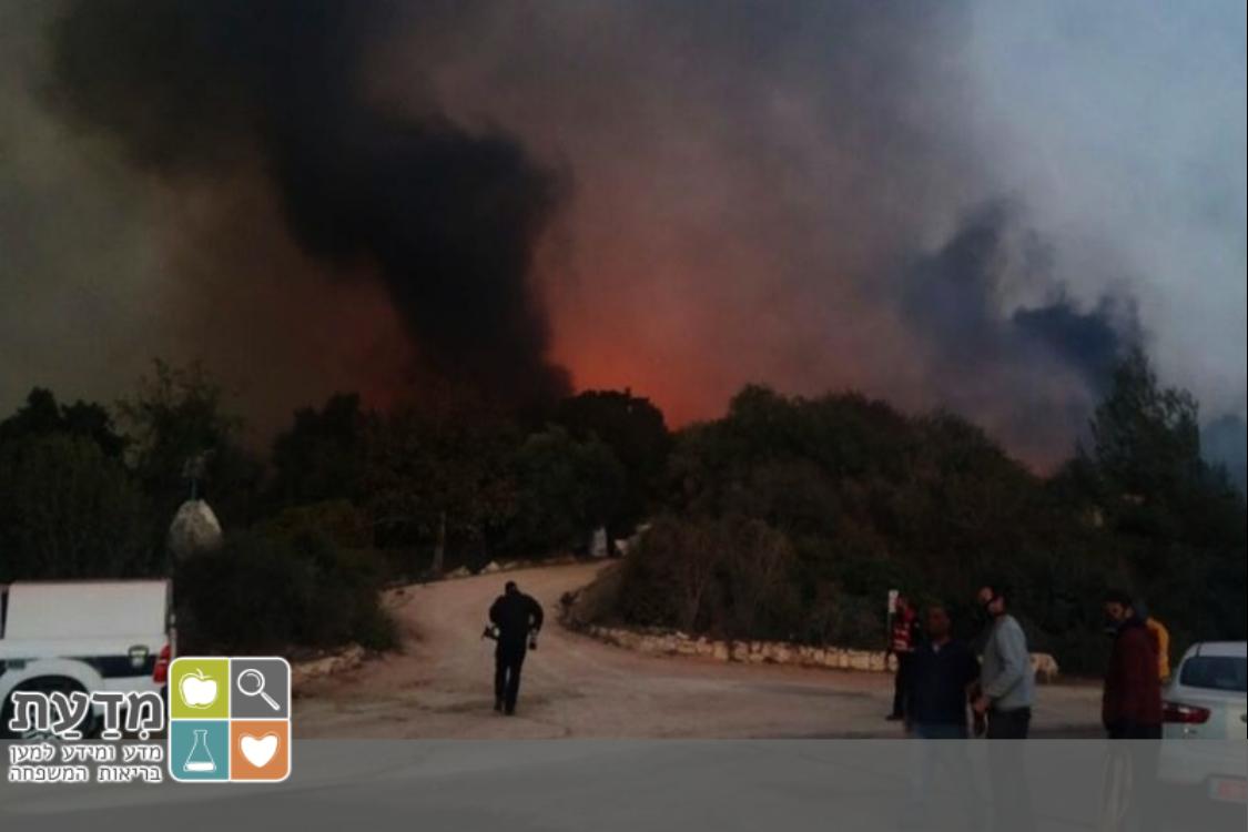 עשן מיתמר בשרפה בהרי ירושלים, סוף 2016