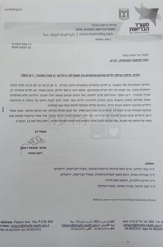 מכתב הפעלת פקודת בריאות העם בחריש 25.12.2018